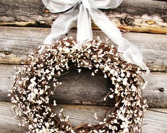 Wedding Wreath-Winter Wedding Decor-ANTIQUE WHITE & SILVER Wedding Wreath-Inspired Vintage Wedding-Shabby Chic Wedding-Custom Made Wreaths