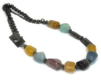 Sale| Fluorite Gemstone Necklace - Smooth Raw Fluorite Nuggets - Asymmetrical - Handmade Fluorite Necklace - Fluorite Jewelry - Black Chain