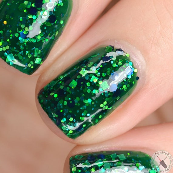 Green Jelly Nail Polish, Glitter Nail Polish - Aurora Borealis ...