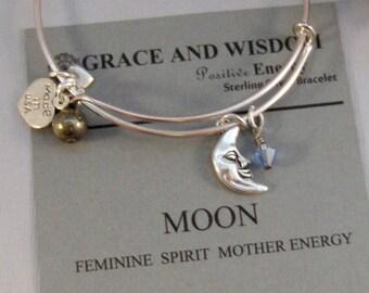 Moon,Bracelet,Positive Energy,Pyrite,Moon Bracelet,Woodland,Silver,Moon Jewerly,Birthstone,Moon Bangle,Sterling Bracelet,Bangle,Moon Jewelry