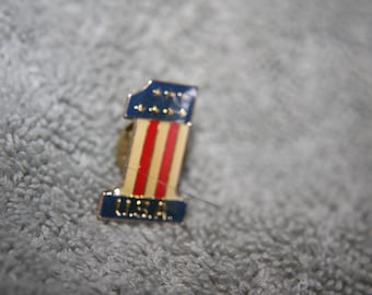 vintage hat tie lapel pin number one american flag free shipping