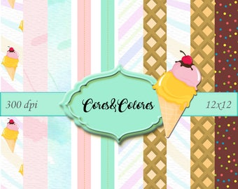 Ice Cream - 10 High resolution digital papers and Pngs 12 x 12 / 300dpi New Collection