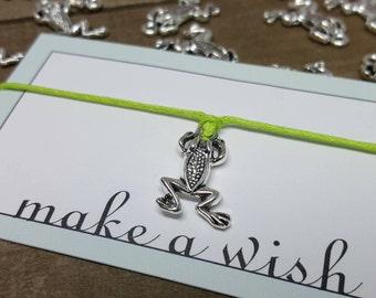 Frog Bracelet, Frog Jewelry, Frog Wish Bracelet, Frog Friendship Bracelet, Frog, Frog Gift, Frog Life, Amphibian Bracelet, Amphibian Jewelry