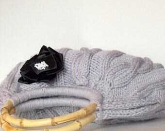 Knitted  Handbag Grey everyday bag Handmade Bag, Moms Gift, Fashion Week , fashion, hibbe, spring fashion