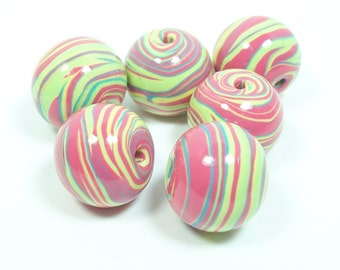 ON SALE NOW Chunky Striped Handmade Polymer Clay Beads - Bright Pink, Green, Blue and a Touch of Yellow
