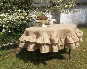 "Multi Ruffled Burlap Tablecloth 70"" Round Table Cloth Ruffled Wedding Decorations Table Decor Farmhouse French Country Rustic Multi Ruffles"
