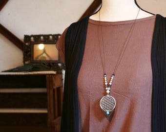 Long Bohemian flower of life necklace gemstone, Crystal and wood beads