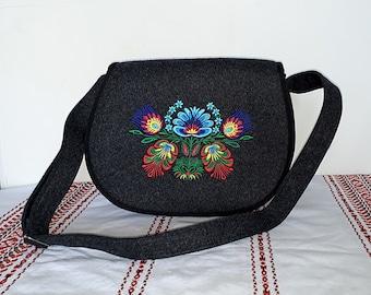 Felt dark crossbody bag / crossover bag / small messenger bag with ethnic Polish embroidery - colorful flowers, vegan bag