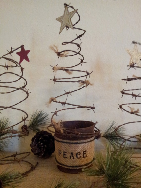 Items Similar To Rustic Barbed Wire Christmas Tree In Pail On Etsy