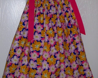 Fuschia and Gold Floral Pillowcase Dress with Yellow Gold Border  size 18 mth - clearance 7.99