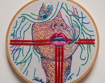 "Embroidery Fiber Art, Original Hand Stitched Miniature Figurative Art, Contemporary Hand Embroidery - ""Zia Woman"""