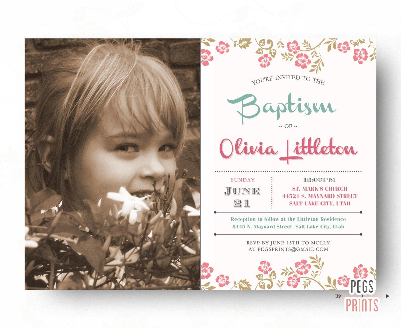 LDS Baptism Invitation Girl Printable LDS Baptism Invite //