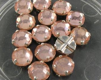 Vintage Rose Montee  7 mm Pink Glass