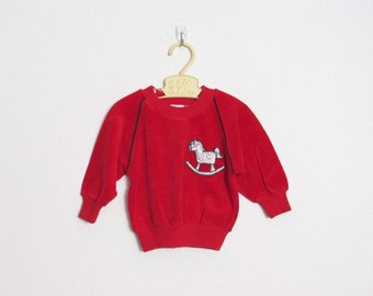 Babyfair Baby Girl's Holiday Shirt / Red Velour Top w/ Embroidered Rocking Horse Appliqué / Vintage 80s Kid's Pullover / Size 18 months