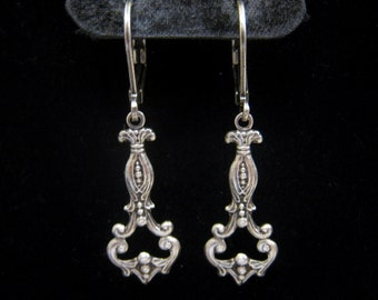 Art Nouveau Victorian Edwardian Vintage Style Filigree Petite Dangle Earrings Antique Sterling Silver Plated Lever Back Light Weight