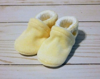 Butter Yellow : Soft Velour All Fabric Baby Shoes 0-3M Newborn Booties
