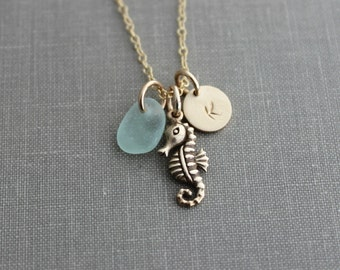 Bronze Seahorse Charm Necklace, 14k gold filled personalized initial disc and chain with genuine Sea Glass, Necklace , Beach Jewelry