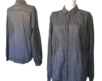 1970s Sheer Metallic Plaid Button-Up — Medium