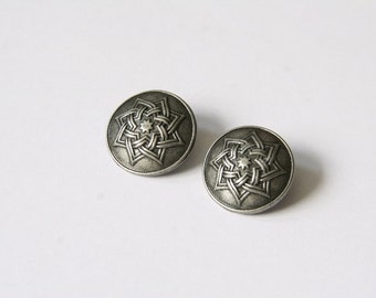 5 PCs metal buttons / star ornament / Ø 18mm / antique silver MK004