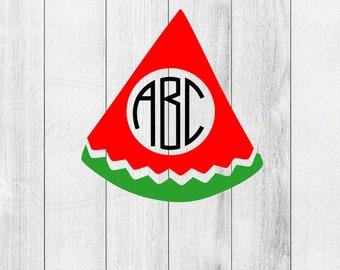 Monogrammed Watermelon Slice Decal
