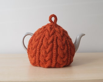 Tea Cosy, Cable Knitted Cozy, Burnt Orange - BAILEY