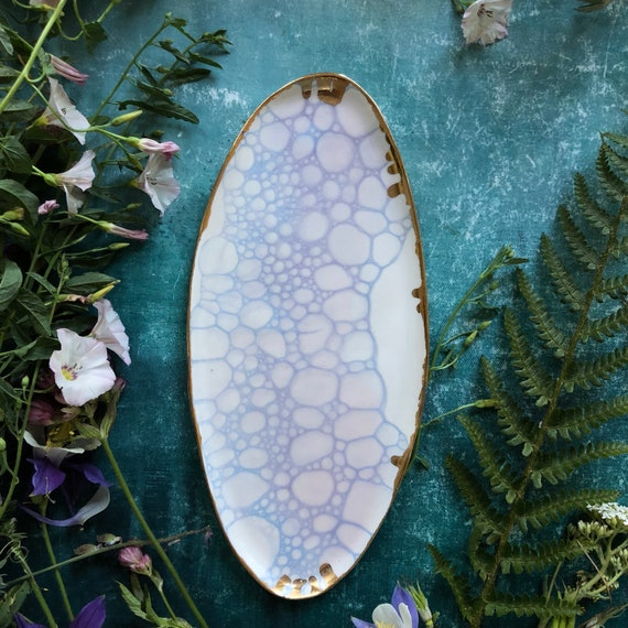 Watercolor series porcelain platter with 23K gold