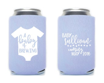 Onesie A Baby is Brewing Baby Shower Favors Custom and Personalized Can Coolers