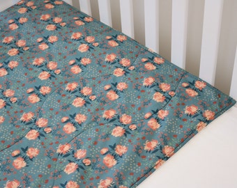 Organic cotton and bamboo baby blanket, antique rose pink and teal - girl
