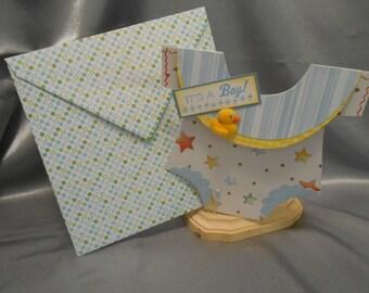 Baby boy handmade card.