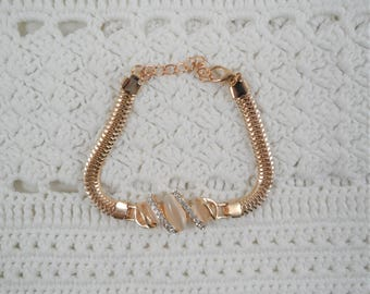 Beautiful Gold Tone Clear Crystals Bracelet