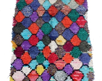 Vintage Moroccan Boucherouite Rug 7' 6'' by 3' 7''