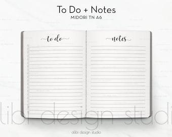 A6 TN, To Do List, Midori TN A6, Notes, Travelers Notebook, Midori Insert, Traveler's Notebook A6, TN Insert, Midori, Bullet Journal, A6