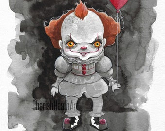 """Rainbow Fright Series Pennywise Original Watercolor 8""""x10"""""""