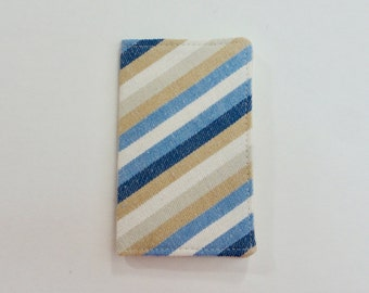 Blue Beige Gray and White Striped Denim Mini Wallet