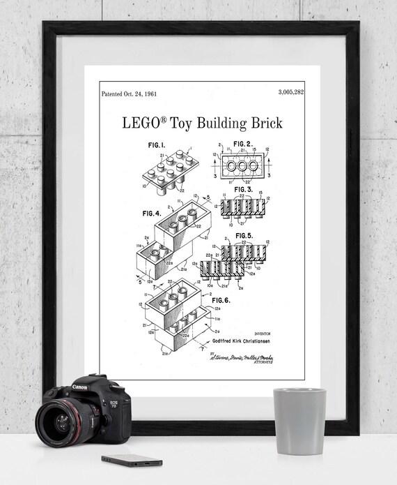 Lego Patent Art Lego Patent Print Lego Patent Poster Lego