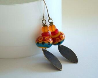 Southwest Earrings, Lampwork Earrings, Colorful Earrings, Boho Chic earrings, Long Earrings, Glass Bead Earrings