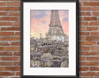 Paris Skyline, Paris Rooftops, Eiffel Tower Print, Paris Art, Paris Watercolor, Paris for her, Paris for mom, Parisian Rooftop Prints