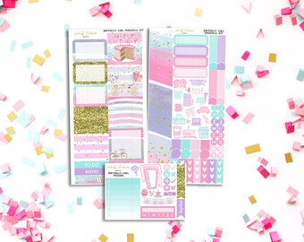 FINAL SALE Birthday Girl Personal Weekly Kit - stickers to fit Filofax, Kikki K and more!