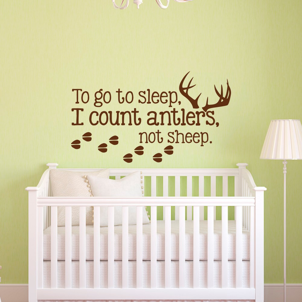 To Go To Sleep I Count Antlers Not Sheep Wall Decal Quote Boy