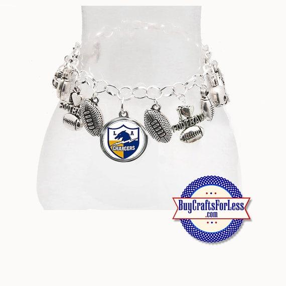 LoS ANGELES Football CHARM Bracelet, Silver Plated  **FREE U.S. SHiPPiNG**