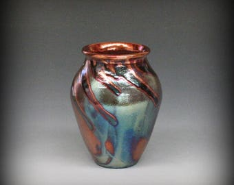 Raku Vase in Beautiful Metallic Iridescent Colors