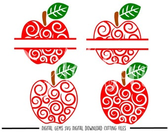 Teacher Swirly Apple svg / dxf / eps / png files. Digital download. Compatible with Cricut and Silhouette machines. Small commercial use ok.
