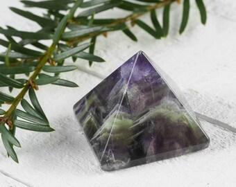 One FLUORITE Pyramid - Rainbow Fluorite, Fluorite Crystal, Green Fluorite, Purple Fluorite, Healing Crystal Pyramid, Blue Fluorite E0212