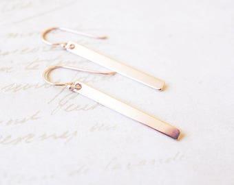 Earrings, Rose Gold Earrings, Minimalist Earrings, Long Earrings, Bar Earrings, Dangle Earrings, Drop Earrings, Handmade Earrings, Gift