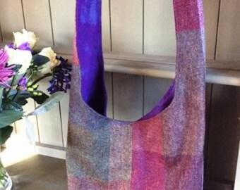 Shetland Tweed Hobo Bag - Multi coloured