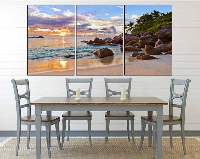 Tropical beach sunset art, beach wall art, beach canvas print, sunset wall art, sunset art print, sunset canvas art, sunset print large