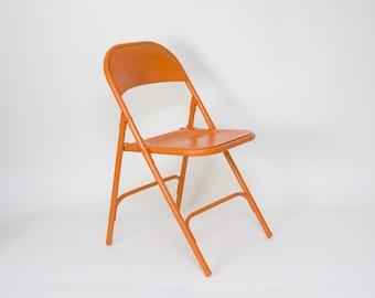Orange Folding Metal Chair - Samson