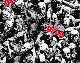 """Walking Dead Zombies fabric, by the half yard, 43-44"""" wide, 100% cotton, walking dead fabric, The walking dead, zombie fabric"""