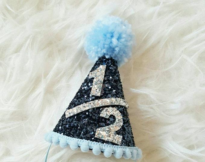 Half Birthday Mini Glittery Party Hat | Half Birthday | Baby | Birthday |Cake Smash | 6 Months Boy Birthday Party Hat | Photo Prop