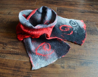 Hand Felted Scarf merino wool with tussah Silk gift for her merino grey black red winter holidays gifts for her mothers day mom women girl